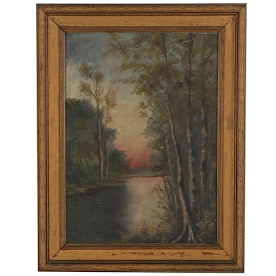 Riverscape Oil Painting, Late 19th Century