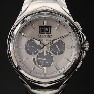 Seiko Coutura Big Date Chronograph Stainless Steel Solar Quartz Wristwatch