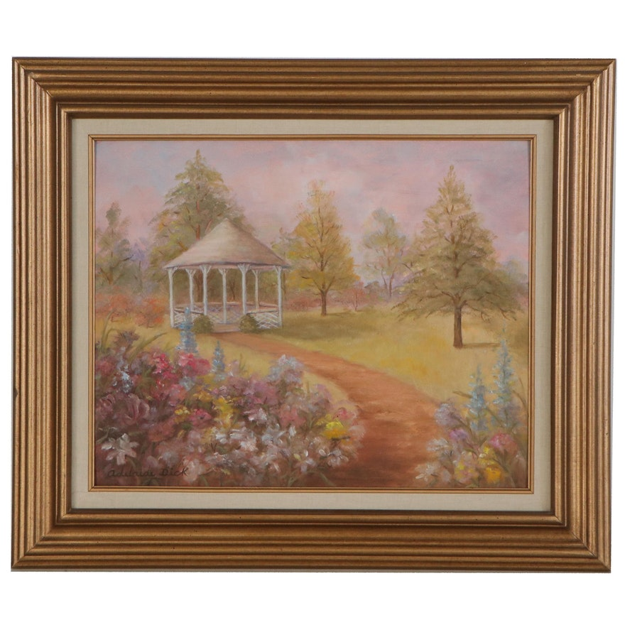Adelaide Dick Landscape Oil Painting with Gazebo, Late 20th Century