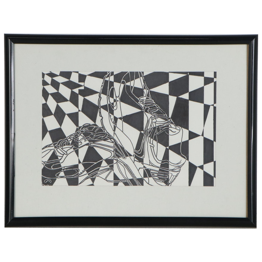 Op Art Style Ink Drawing, 21st Century