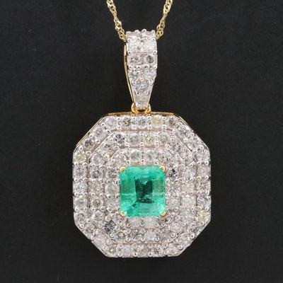 14K 1.12 CT Emerald and 2.05 CTW Diamond Pendant Necklace