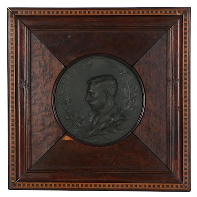 Base Metal Burl Inlay Medallion of King Albert I, 1916