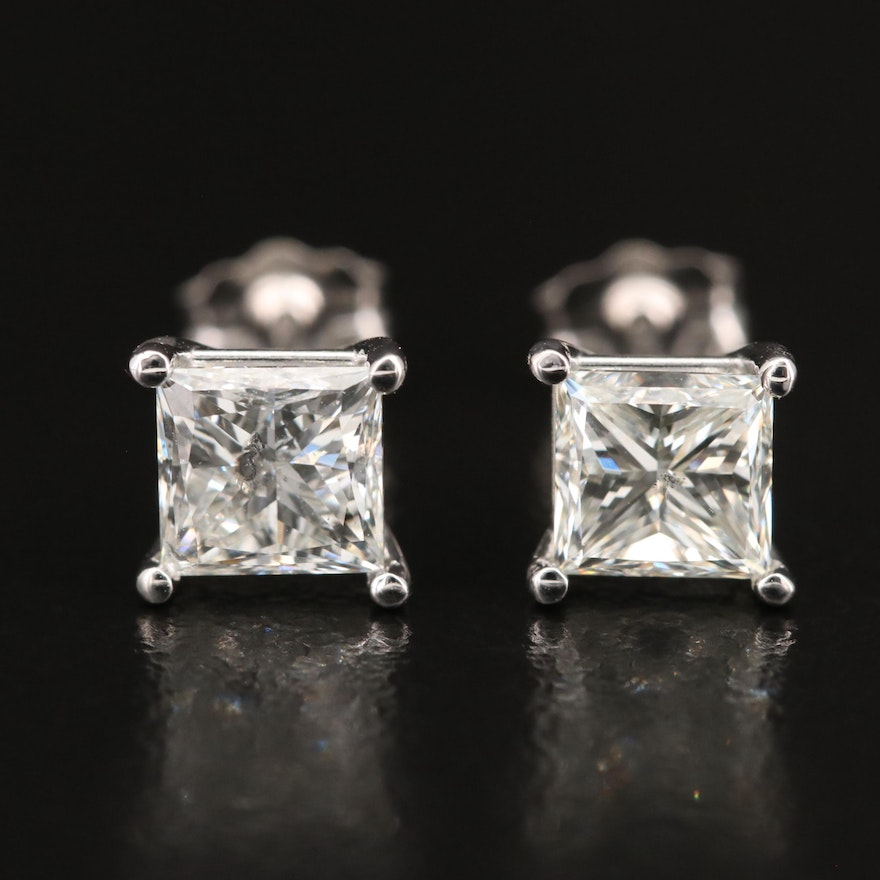 18K 2.01 CTW Diamond Stud Earrings with GIA eReport