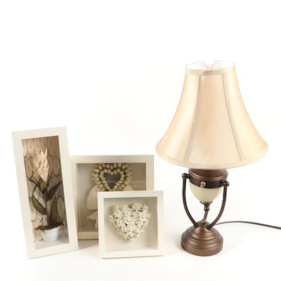 Collection of Dried Flower Shadow Boxes with Bronze Finish Table Lamp