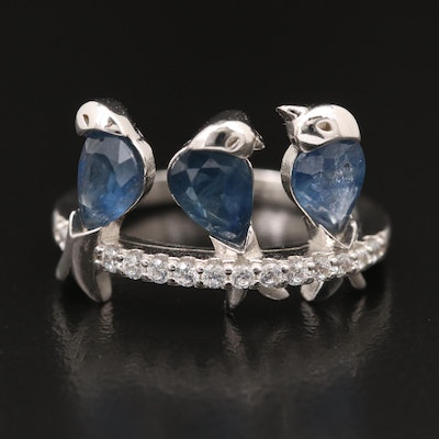Sterling Sapphire and Cubic Zirconia Three Little Birds Ring
