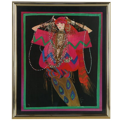 Modernist Style Embellished Offset Lithograph of Woman, Late 20th Century
