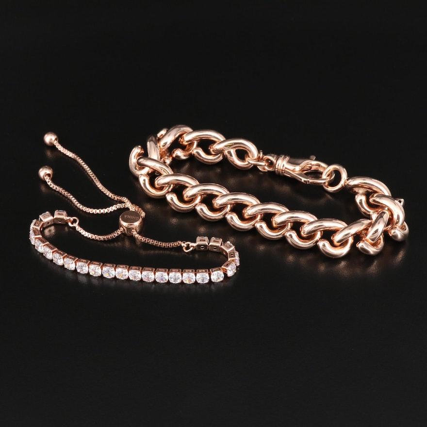 Milor Bronze Fancy Link Bracelet with Cubic Zirconia Line Bracelet