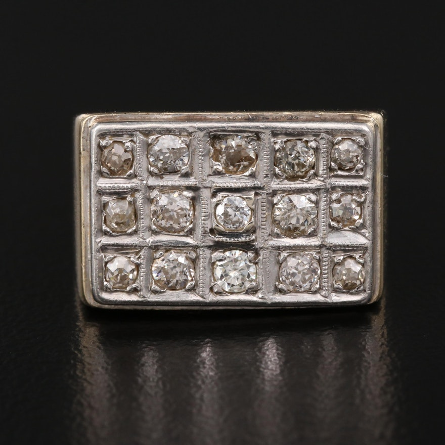 14K Diamond Ring Featuring Grid Design