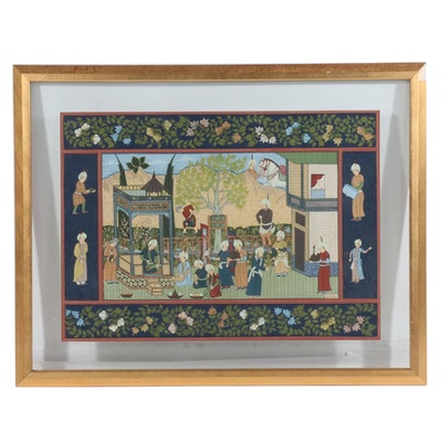 Gouache Painting of a Safavid-Style Courtly Scene, 21st Century