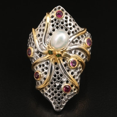 Sterling Garnet, Pearl and Diopside Octopus Ring
