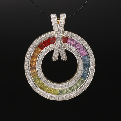 14K Multi-Color Sapphire and Diamond Enhancer Pendant