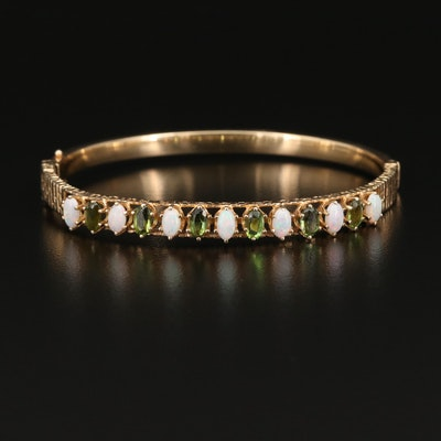 14K Tourmaline and Opal Hinged Bangle