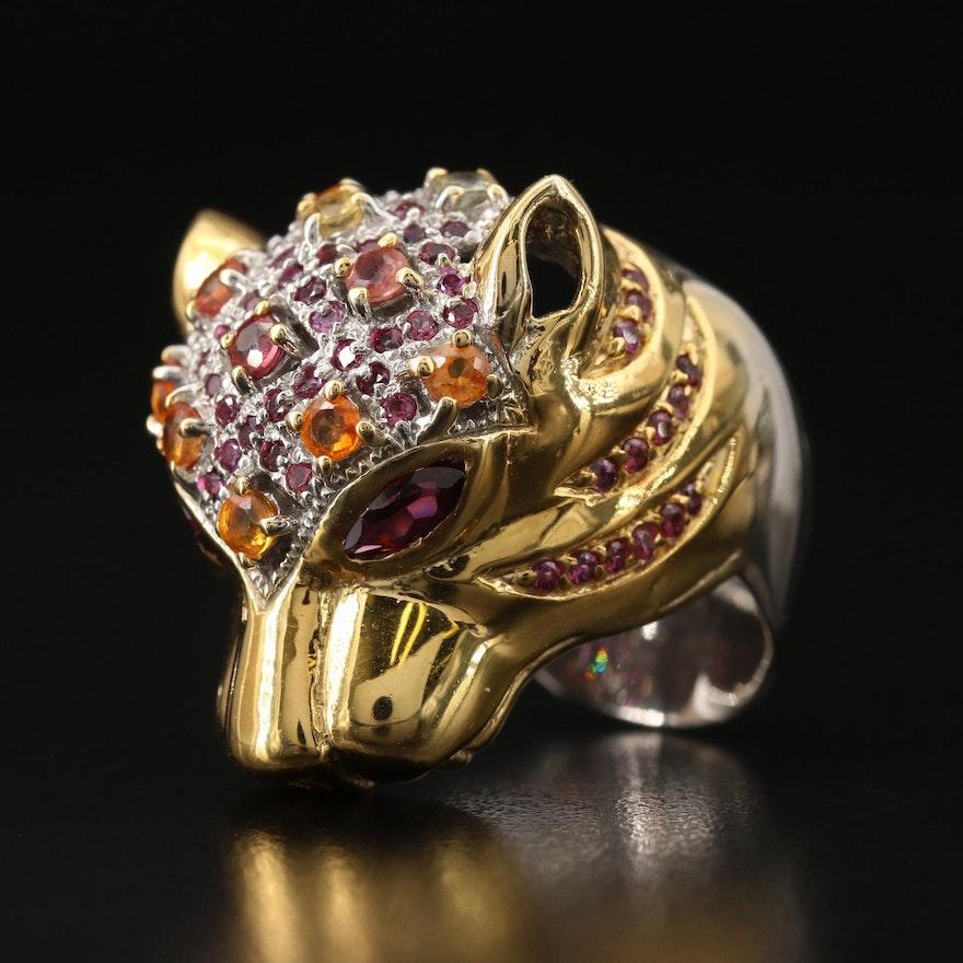 Sterling Sapphire and Garnet Feline Head Ring