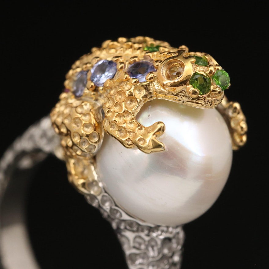 Sterling Pearl Frog Ring with Diopside and Tanzanite Accents