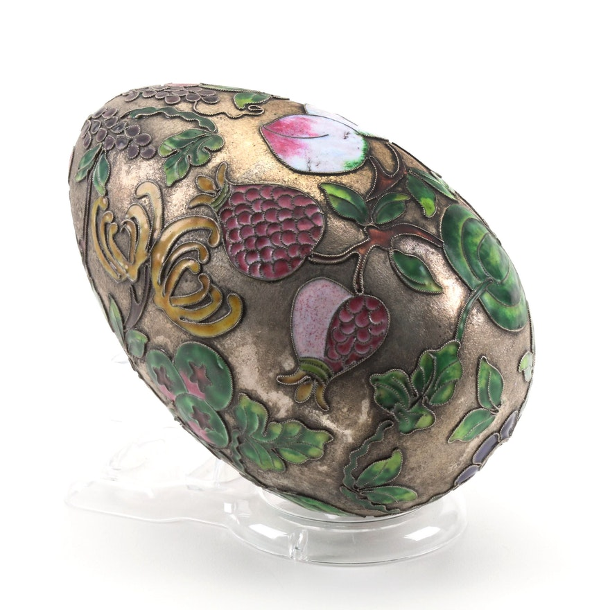 Chinese Fruit and Flower Champlevé Enameled Egg, 20th Century