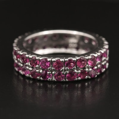 Sterling Garnet Double Row Band
