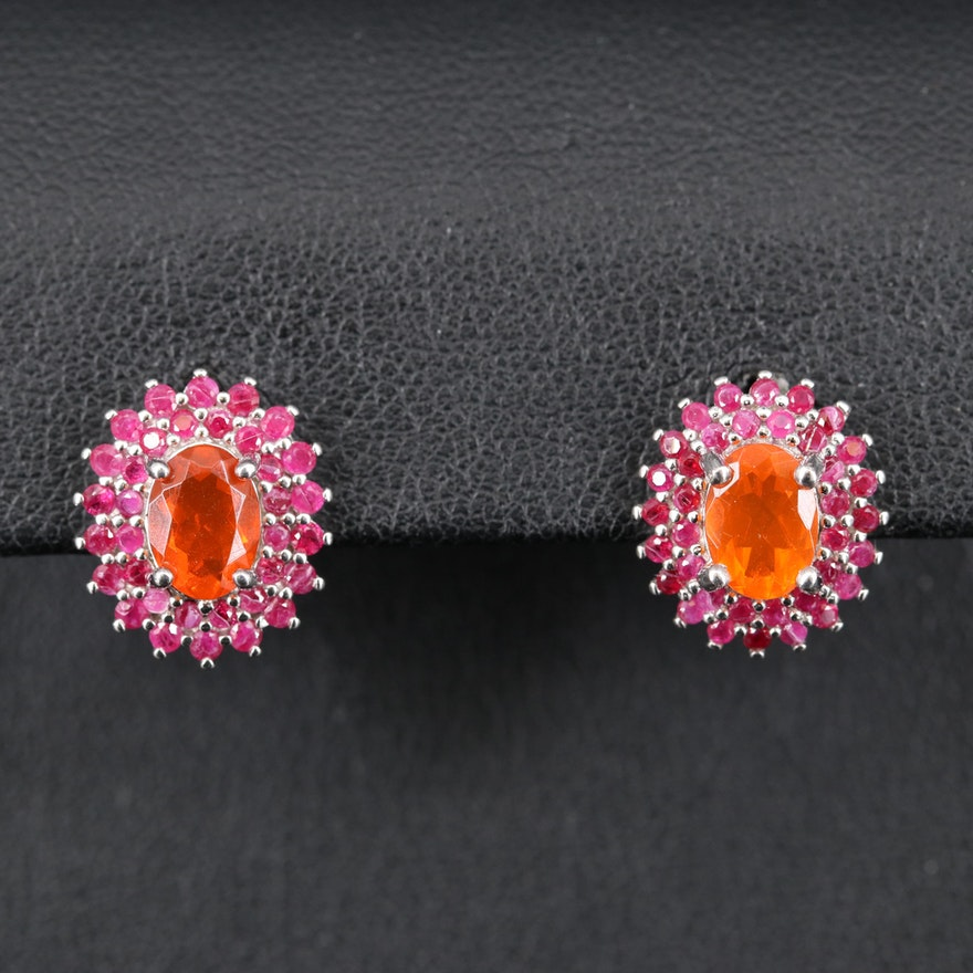 Sterling Opal and Ruby Halo Earrings