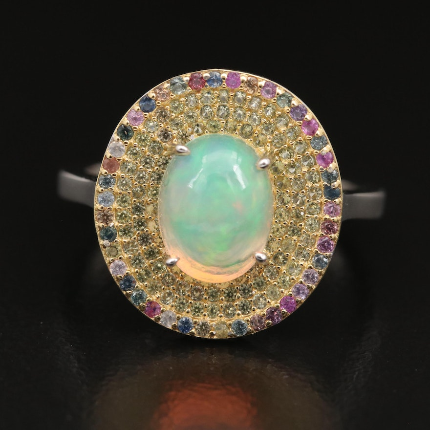 Sterling Opal and Sapphire Multi-Row Ring