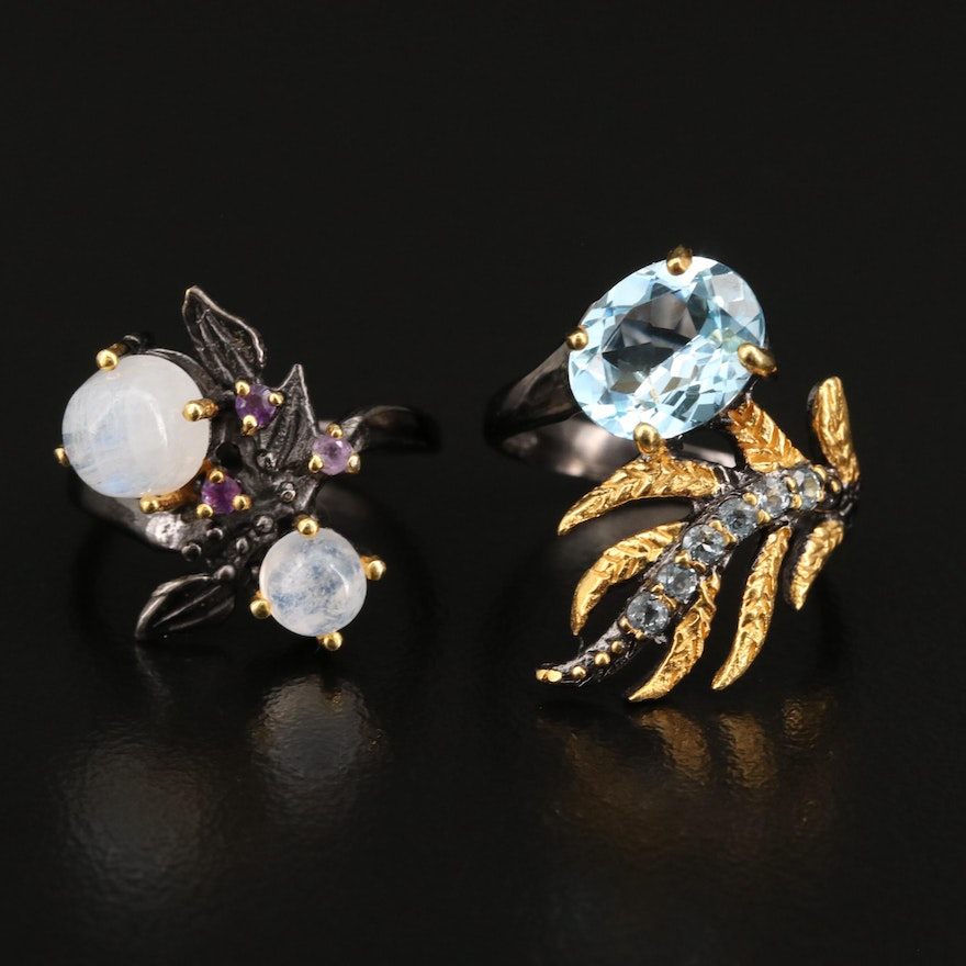 Sterling Foliate Rings with Topaz, Amethyst and Rainbow Moonstone