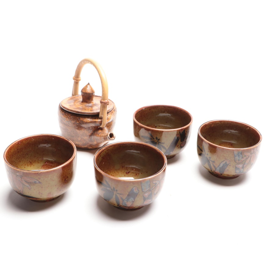 Art Pottery Teapot with Japanese Tea Bowls, Late 20th Century
