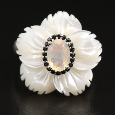 Sterling Mother of Pearl, Cubic Zirconia and Opal Flower Ring