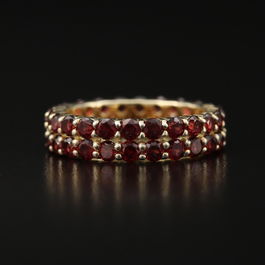 Sterling Double Row Garnet Eternity Band