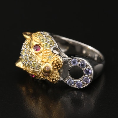 Sterling Sapphire, Garnet and Tanzanite Feline Door Knocker Motif Ring