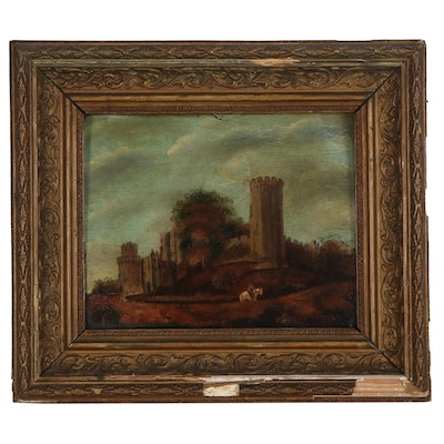 Castle Landscape Oil Painting, Mid-19th Century