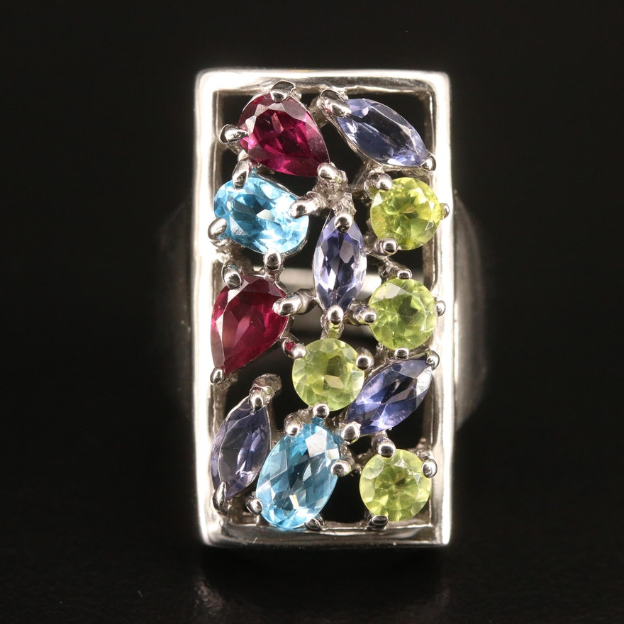 Sterling Silver Multi-Gemstone Cluster Ring with Openwork Design