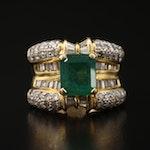 18K 2.35 CT Emerald and 1.88 CTW Diamond Ring