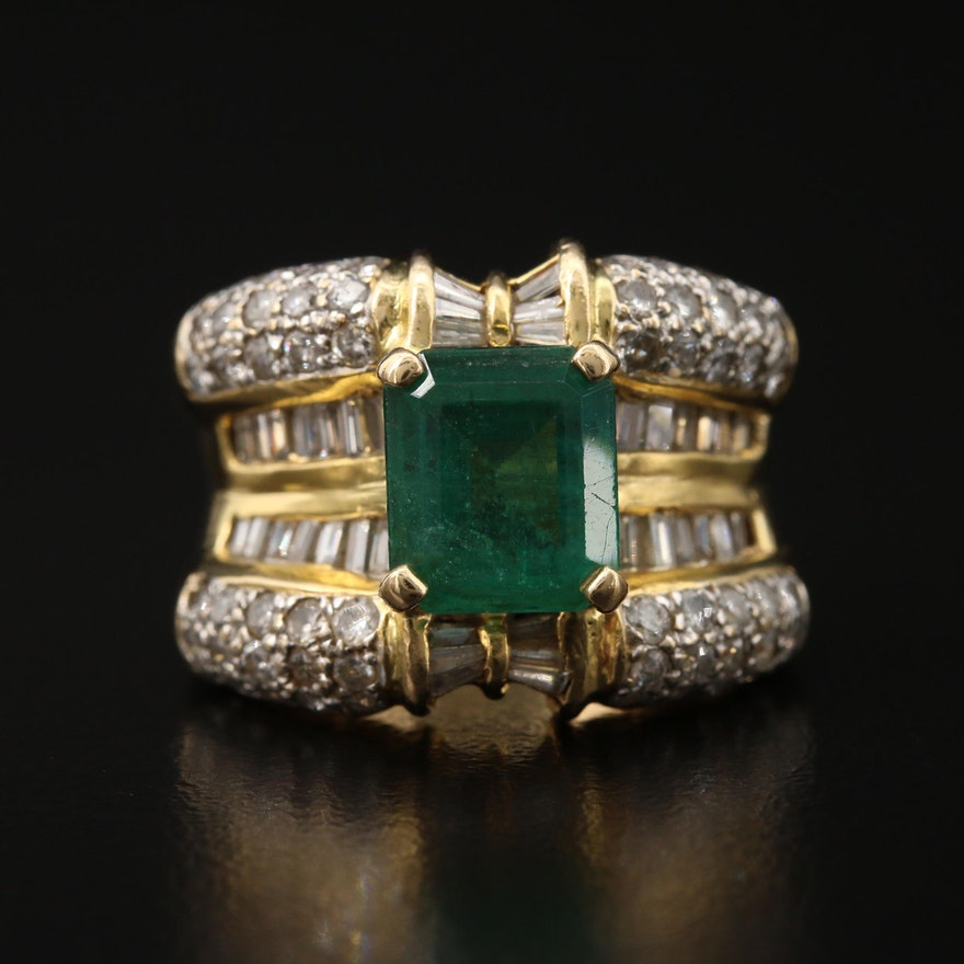 18K 2.35 CT Emerald and 1.88 CTW Diamond Ring