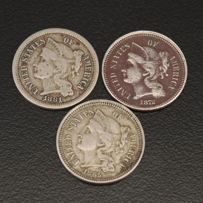 Three Liberty Head 3-Cent Nickel Coins