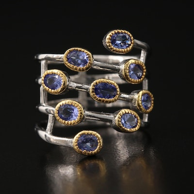 Sterling Tanzanite Multi-Row Ring