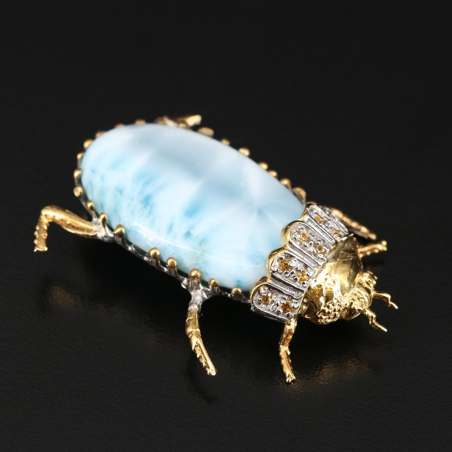Sterling Larimar and Sapphire Insect Brooch
