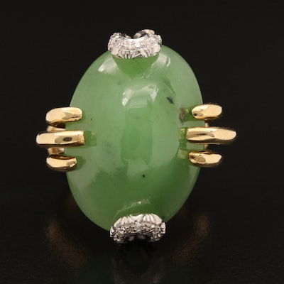 18K Oval Nephrite Cabochon and Diamond Ring