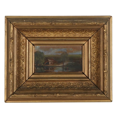 Miniature Oil Painting of Lake Scene, Mid-19th Century