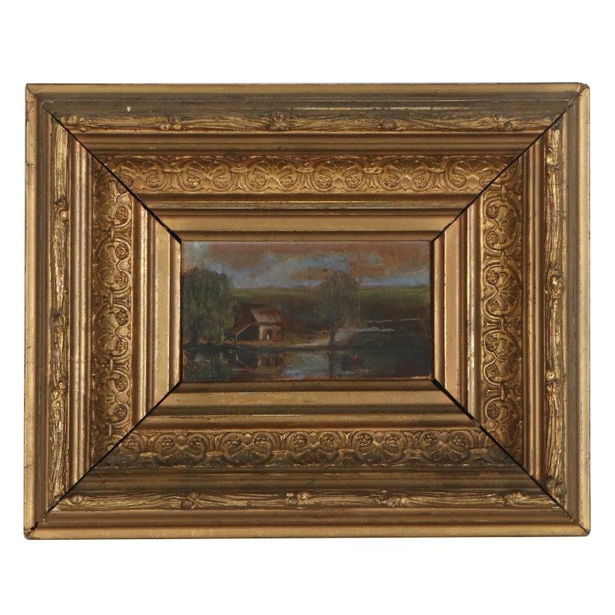 Miniature Oil Painting of Lake Scene, Mid-19th Century