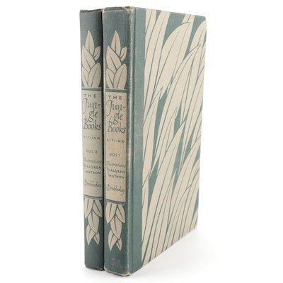 """Illustrated """"The Jungle Books"""" Two-Volume Set by Rudyard Kipling, 1948"""
