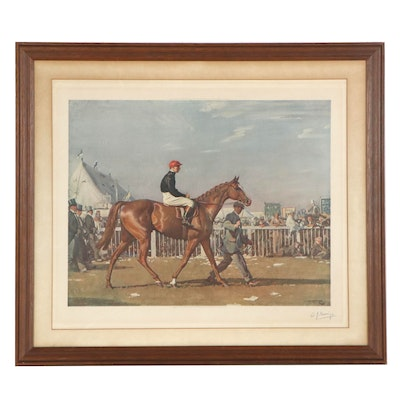 """Sir Alfred James Munnings Color Lithograph """"Humorist and Donoghue"""""""