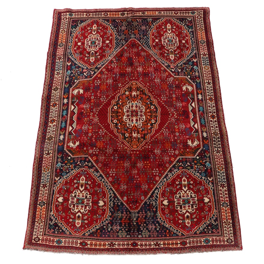 7'0 x 10'1 Hand-Knotted Persian Qashqai Wool Area Rug