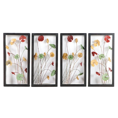 Four Contemporary Metal Floral Wall Panels