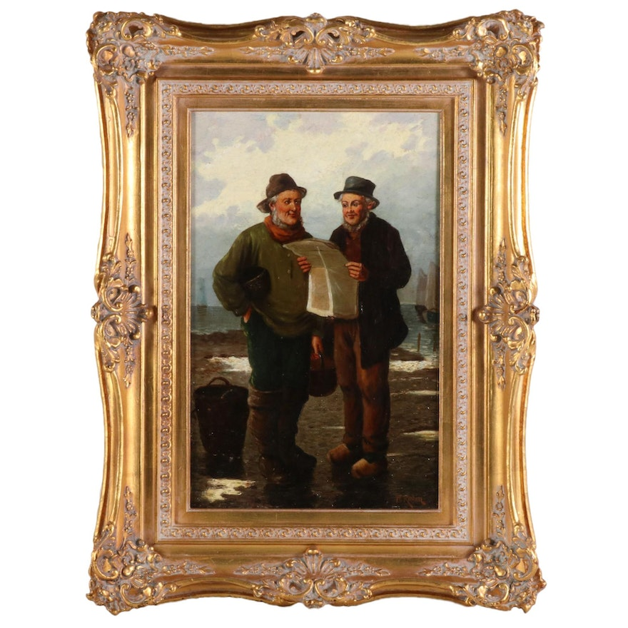 European School Style Oil Painting, Late 19th to Early 20th Century