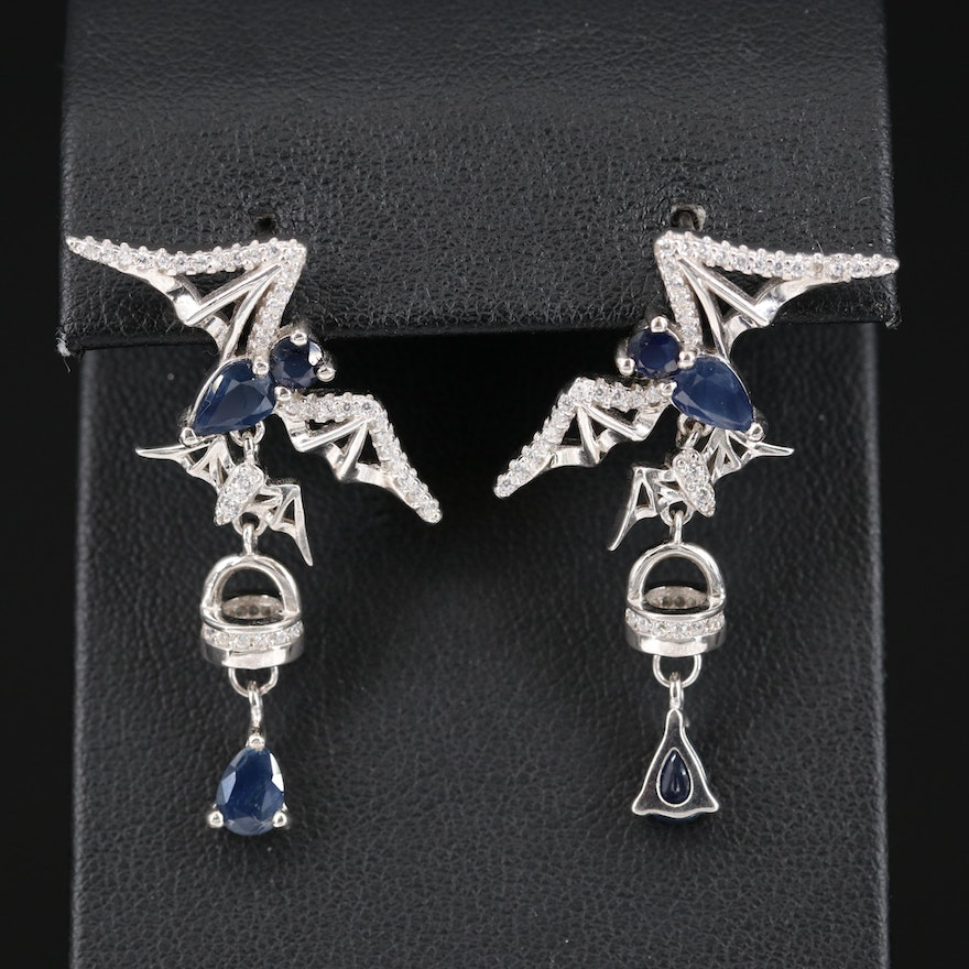 Sterling Flying Bat Sapphire and Cubic Zirconia Earrings