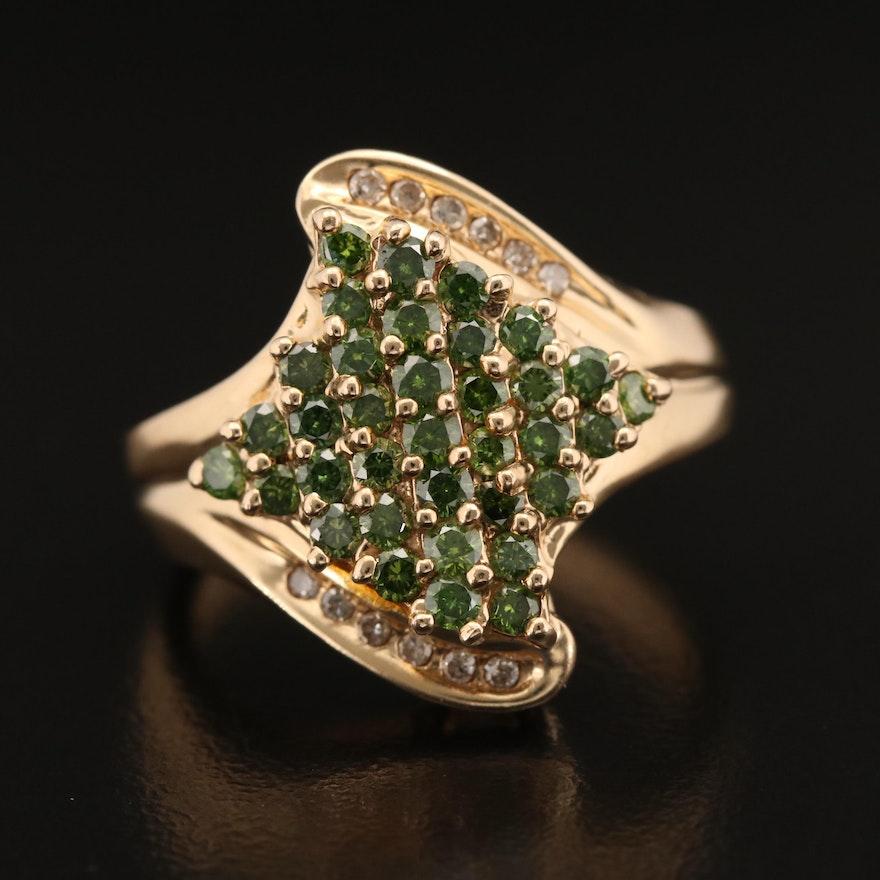 14K Pavé Green Diamond Diamond Ring with Diamond Accents
