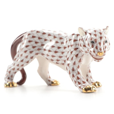"Herend Chocolate Fishnet ""Small Tiger"" Porcelain Figurine"