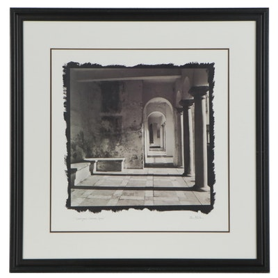"Offset Lithograph ""Courtyard, Cordoba, Spain,"" 21st Century"