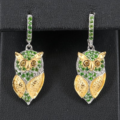 Sterling Owl Diopside and Sapphire Earrings
