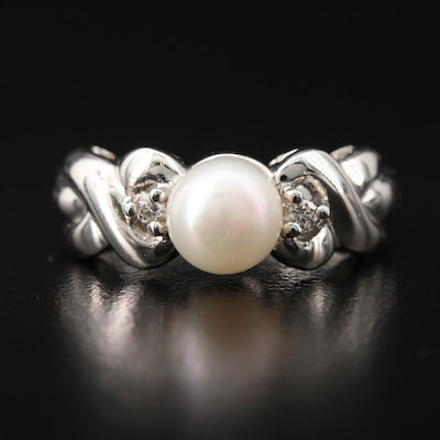 10K Pearl and Diamond Ring