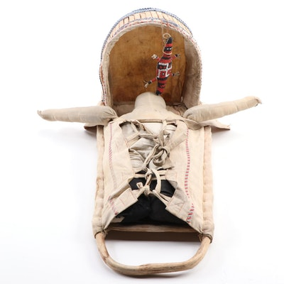 Western Apache Style Cradleboard with Doll and Plains Style Beaded Fetish