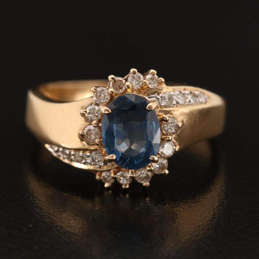 14K 1.10 CT Sapphire and Diamond Ring